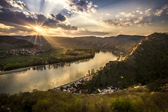 Pure Idyll (Toukensmash) Tags: sunset sonnenuntergang sun light ray landscape dürnstein niederösterreich österreich austria night evening grass mountains rocks cliff krems danube donau sony alpha58 sigma1020 wachau pure idyll