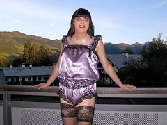 Sparkles (Paula Satijn) Tags: sexy hot girl gurl tgirl satin silk shiny teddy teddie playsuit lace lilac black stockings stockingtops happy smile mountains view outdoor