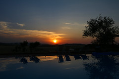 Sundown (LaDani74) Tags: reflections sinset sundown lajatico pisa tuscany italy countryside swimmingpool sky summer water