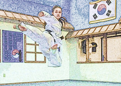 Flying Side Kick (laureanophoto) Tags: sidekick flying girl female martialarts taekwondo kick pencil sketch sports blackbelt pentax kr 18135 wr