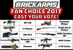 Announcing the BrickArms Fan Choice 2017 - Cast Your Vote! (enigmabadger) Tags: brickarms lego custom minifig minifigure fig weapon weapons accessory accessories combat war battle m27 iar e5 blaster gau19 bergmann mg 15na chainsaw doom video game videogame battfield 1 one commando minigun double barrel shotgun m1915 hotchkiss machine gun 416 carbine e11d star wars rogue clone