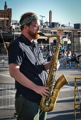 NBBB Saxophone (tim.perdue) Tags: comfest 2017 summer community festival goodale park short north columbus ohio wish you jazz stage new basics brass band nbbb group ensemble performance live concert music musician tenor sax saxophone woodwind profile alex bandana