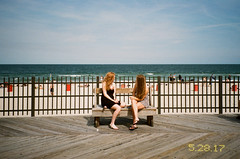 Between Here and Jersey (Džesika Devic) Tags: newjersey asbury beach contaxtvsiii film date 35mm analog kodak redhead girls talk vintage symmetry summer sun