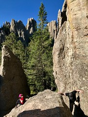Cathedral Spires (briandjan607) Tags: morning bright sunny bluesky july summer man woman blackhills relax rest hiking climb outdoors nature hike park pine tree cliffs rugged jagged view relaxing sitting rocks climbing southdakota custerstatepark cathedralspires