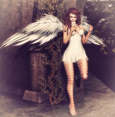 Text message from heaven.. (Savanah S) Tags: secondlife second life sl angel blueberry stealthic catwa maitreya wings phone nails