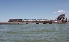 NS 7630 leading AMTK 29 Bay View, OH (Chicago Line Railfan) Tags: amtrak 29 ns 7630 amtk 176 sandusky bay bridge view oh ohio boat photo captital limited norfolk southern chicago line