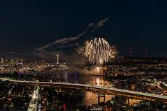 Seattle, July Fourth (garshna) Tags: seattle fourthofjuly fireworks independenceday i5 lakeunion reflections boats bridges spaceneedle night