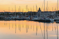 A Day A Picture A Story (DOT finger) Tags: reflection boats sunset harbour yellow