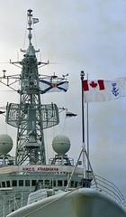 HMCS Athabaskan,at Leith,Scotland,1986 (murraymcbey) Tags: flags hmcs athabaskan leith scotland warship hmcsathabaskan 1986