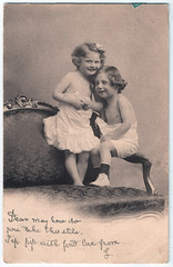 Two Girls (pepandtim) Tags: postcard old early nostalgia nostalgic two girls hm printed switzerland luigi montabone pioneer photography italy album memories persian travel italian mission 1862 jersey 03051904 1904 38twg43 may selvin troopers yard helier many happy returns school ramble cane handle camera patented usa lehmann berlin germany exposures roll film shutter released knob