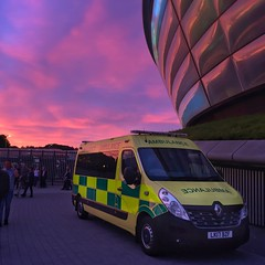 Ambulance Scotland & the Hydro Sunset (barronr) Tags: colour light sun sunset clouds concert secc hydro glasgow ambulancescotland privateambulance ambulance scotland