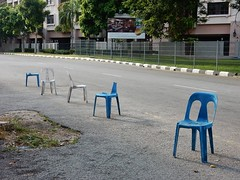 No Parking Chairs (mikecogh) Tags: malacca melaka chairs broken reserved prevention blocks noparking