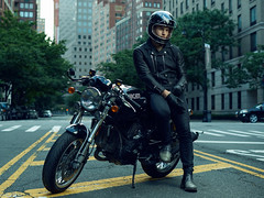 Anton Martynov PHOTOGRAPHY (Sneaky Russian) Tags: nyc newyork bike bikelife ride riding cafe racer race manhattan photoshoot portrait early photoshop color cool nikon strobe rider
