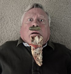 The Man With a Pickle Mustache and a Pizza Goatee (ricko) Tags: selfportrait mustache pickle goatee pizza foodface werehere 195365 2017 foodbeard