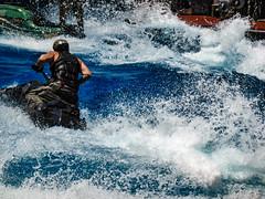 Making Waves (Steve Taylor (Photography)) Tags: makingwaves waterworld helmet jetski waves turmoil universalstudios singapore blue white asia water man