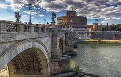 Castel Sant'Angelo (Fil.ippo) Tags: mausoleumofhadrian castelsantangelo rome roma bridge ponte water acqua tiber tevere clouds nuvole cityscape panorama filippo filippobianchi d610 nikon travel