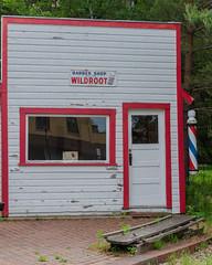 DSC_9893 (pattyg24) Tags: barbershop barberpole mercer window wisconsin door history sign