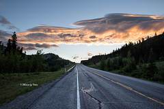 Road of clouds (Explore 22/06/2017)! (Canon Queen Rocks (1,570,000 + views)) Tags: road clouds colours canada landscape sky scenery scenic nature trees sunrise dawn reds yellows views alberta mountains rockies explore