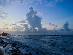 Sunrise after Cindy (runcolt12) Tags: galveston texas sunrise tropicalstorm rain bluehour gulfofmexico clouds iphone surf