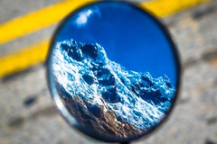 A look at the beautiful glaciers through my side mirror.