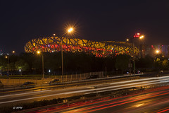 Beijing Olympiastadion (hph46) Tags: beijing china olympiastadion nachtaufnahme leuchtspuren birdsnest canon eos5dmkii