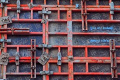 Do Not Climb (Bad Kicker) Tags: grid abstract industrial pattern geometric red metal rust