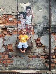 Imaginary Friends (espinozr) Tags: asia penang georgetown streetart toddler childrenontheswing swing wall southeastasia malaysia 2017 graffiti chuliastreetghaut louisgan