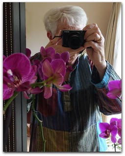 faceless selfie with orchids: Smile on Saturday