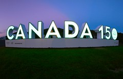 Happy Canada Day! (Karen_Chappell) Tags: canada canadaday signalhill sign night lights stjohns atlanticcanada avalonpeninsula holiday blue evening longexposure canada150