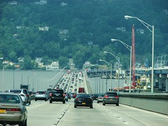 WESTBOUND OVER THE OLD TAPPEN ZEE BRIDGE IN JULY 2017 (richie 59) Tags: newyorkstate newyork dividedhighway unitedstates weekend trees traffic autos motorvehicles vehicles bridge saturday interstatehighway cars rocklandcountyny richie59 rocklandcounty hudsonriver america outside trucks summer newyorkstatethruway tappanzeebridge interstate287 thruway nythruway southnyackny southnyack bridgework 2017 july12017 july2017 i287 townoforangetownny townoforangetown 2010s hudsonvalley nystate ny usa us downstatenewyork downstate downstateny highway freeway road 6lanehighway sixlanehighway 6lane sixlane oldbridge newbridge taillights backend bridgeconstruction river water houses obsolete wornout
