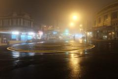 Into the darkness I (Shawn Sijnstra) Tags: dark darkness night fog wet reflection shadows light shadowsandlight street buildings