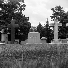 (patrickjoust) Tags: 6x6 medium format 120 tlr twin lens reflex black white bw home develop film expired discontinued blancetnoir blancoynegro schwarzundweiss manual focus analog mechanical patrick joust patrickjoust baltimore maryland md usa us united states north america estados unidos urban city boring tombstone tomb grave cemetery cross greenmount trees wall stone