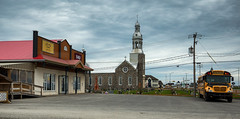 Somewhere in Canada (zilverbat.) Tags: canada travel timelife town tripadvisor tourist zilverbat cinematic church image wallpaper postcard world bus ecoliers noir film traffic stop halt highway hopper