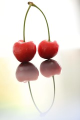 My Cherries (haberlea) Tags: home cherry cherries pair fruit reflections mirror red athome