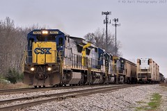 CSX V839-30 at Tullahoma, TN (KD Rail Photography) Tags: csx howtomorrowmoves trains railroads transportation ge emd electromotivedivision generalelectric c408 dash8 d840c graintrain grain freighttrains unittrains cloudydays cloudyweather winterseason winterweather winter winterevening smalltown smalltownusa tennessee tennesseevalley middletennessee