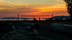 Days End Play (Sworldguy) Tags: sunset volleyball beach clouds red orange sky skyscape logs sand mountains marine powellriver willingdonbeach park tourism britishcolumbia canada sunshinecoast nikon d7000 dslr zoom