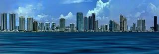 The skyline of Sunny Isles Beach, Miami-Dade County, Florida, USA