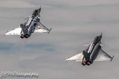 2 dassault rafale m's departing for their role demo display at yeovilton international air day (JC96 Photography) Tags: role demo dassault tiger meet scheme nato fighter jets afterburners aviation planes canon photography