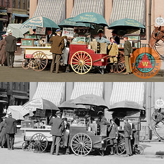 Wear Youngs Hats At Frankfurter Hot Dog Stands 3 Cents Each Colorized Framed Print (wingsdomain.com) Tags: wingsdomain vintage old earlyyears retro color colorized photo documentary newyork city cityscape east eastcoast industrialrevolution blackandwhitephotography history historical nostalgia nostalgic streetscene hotdog hotdogs frankfurter sausage sausages food stand stands hotdogstand lemonade lemonadestand hat hats cart carts horse newspaperboy street streets foodtruck foodtrucks america usa unitedstates bluecollar 1800 1800s 1920 1920s greatdepression innercity or long wide size sizes wingtong wingcheetong fineartamerica society6 zazzle framed print canvas poster posters metal