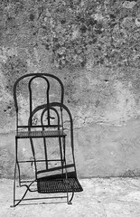 almost at noon (jen.ivana) Tags: bw black white minimalism minimal chair wall outdoor