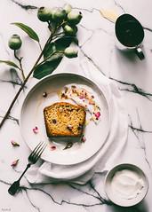 Cranberry and coconut cake served wtih coconut yoghurt, raw honey and rose petals (ErinaMak) Tags: fujixt1 coconut topdown aroma sweet foodphotography breakfast yogurt floral xf35mm fujifilm dessert rosepetals gumnut plant foodstyling honey cake bread poundcake sweets treat yoghurt flower marble cranberry fragrance baked
