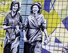 UNITE WOMEN... (BABAYAGA321) Tags: belfast victoriasquare streetphotography graffiti streetart clocktower murals dirtyonion guinness salvadoredali johnpeel stenaline langanriver ferry stannescathedral spireofhope