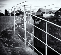 Lock-side railings (Tim Ravenscroft) Tags: canal lock railings monochrome ellesmereport wirral england blackandwhite blackwhite hasselblad hasselbladx1d x1d