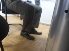 Hidden Camera - Sales Manager (TBTAOTW2011) Tags: bear daddy dad belly mature beefy black leather dress shoe shoes monks feet foot sock socks pants hidden camera candid manager business businessman man executive
