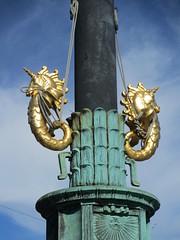 Flagpole with gold seahorses, Gustav Adolfs torg, Gothenburg, Sweden (Paul McClure DC) Tags: gothenburg göteborg sweden sverige july2015 sculpture architecture historic