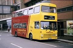 Midland Fox 2474, Humberstone Gate, Leicester, 1988 (Lady Wulfrun) Tags: midlandfox 2474 ewf474v leicester june 1988 midlandred mcw metrobus syt sypte east haymarket 74 anstey