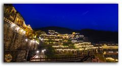 Mesmerizing Panoramic view of Neemrana Fort Palace, Rajasthan (FotographyKS!) Tags: neemrana fort palace fortpalace heritage historic corridor walls design floor perspective architecture castle fortress luxury rajputarchitecture famous attraction history landmark structure exterior monument dome architecturalheritage hindurajput facade vintage outdoor building bluesky clouds behror wide nighttime cityscape mountain citylights twilight dusk ahirwalregion rajputana hillfort hotel accommodation panorama panoramic alwar rajasthan india