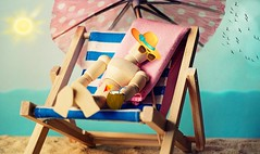 Itsy Bitsy Beach Girl (suzyhazelwood) Tags: beach vacation holiday sun sunbathing tanning artist mannequin deckchair sea ocean funny lol creativecommons sony a6000 wallpaper summer