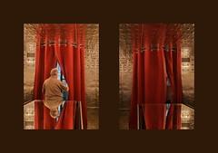 My Father Johann = Hans = Hansi leaving the Café Hansi by Hans Schabus at mumok Museum of Modern Art nicht nur am Vatertag unterwegs im Museum moderner Kunst Sammlung Ludwig Mein Vater Hans geht aus dem Café Hansi von Hans Schabus (hedbavny) Tags: ausblick durchblick einblick aussicht öffnung lift elevator aufzug spiegel mirror theke tisch tabel stern star circle kreis halbkreis square quadrat rectangle rechteck dreieck triangle wand wall mauer kunstlicht faltenwurf braun brown silver silber bronze gold mumok musuem mq museumsquartier museummodernerkunst exhibition ausstellung eröffnung hansi caféhansi vater offen geöffnet innen drinnen vorhang windfang red rot curtain licht light spiegelung reflection door türe abend abends nacht night evening spiegelkabinett kaleidoskop band wien vienna austria österreich hedbavny ingridhedbavny
