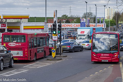 On Diversion 2 (M C Smith) Tags: route 313 379 traffic cars pentax kp pylons flats sky blue petrol station car sales trafficlights lamps flags lines yellow white red truck grass green trees reservoir bird